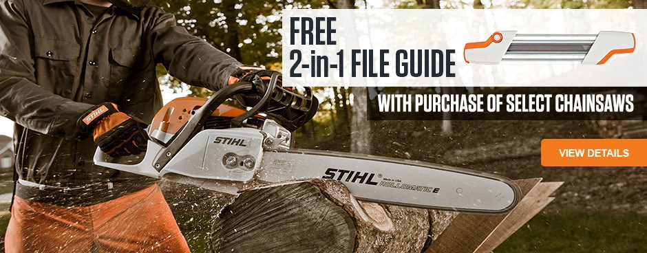 FREE 2-in-1 File Guide with purchase of select chainsaws!